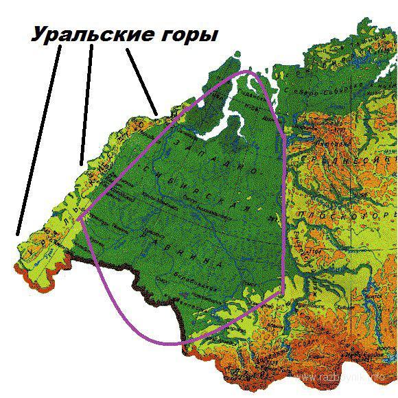 Где находятся уральские горы карта